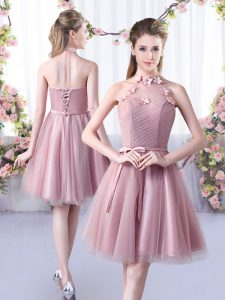 Gorgeous Pink A-line Tulle Halter Top Sleeveless Appliques and Belt Knee Length Lace Up Vestidos de Damas