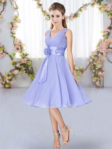 Top Selling Hand Made Flower Quinceanera Court Dresses Lavender Lace Up Sleeveless Knee Length