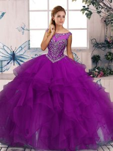 Purple Quinceanera Dress Military Ball and Sweet 16 and Quinceanera with Beading and Ruffles Scoop Sleeveless Zipper