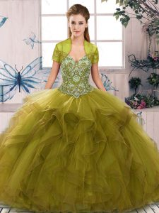 Olive Green Sleeveless Beading and Ruffles Floor Length Quinceanera Gown