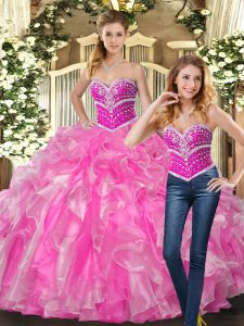 Low Price Rose Pink Sleeveless Beading and Ruffles Quinceanera Dresses