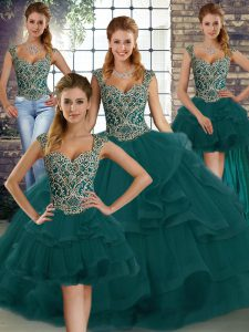 Elegant Peacock Green Tulle Lace Up Straps Sleeveless Floor Length Sweet 16 Dress Beading and Ruffles