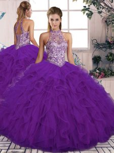 Sleeveless Tulle Floor Length Lace Up 15th Birthday Dress in Purple with Beading and Ruffles