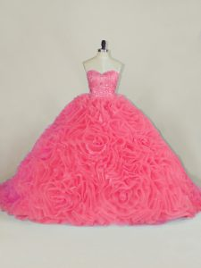 Halter Top Sleeveless Fabric With Rolling Flowers Quinceanera Dress Beading and Ruffles Court Train Lace Up