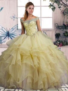 Off The Shoulder Sleeveless Lace Up 15 Quinceanera Dress Yellow Organza