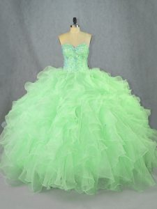 Sleeveless Organza Floor Length Lace Up 15th Birthday Dress in Green with Beading and Ruffles