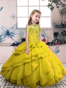 Olive Green Side Zipper High-neck Beading and Ruffled Layers Little Girls Pageant Dress Organza Sleeveless