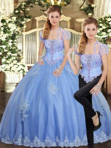 Sleeveless Lace Up Floor Length Beading and Appliques Vestidos de Quinceanera