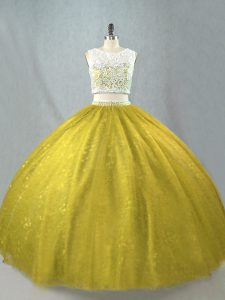 Olive Green Zipper Scoop Beading Quinceanera Gowns Tulle Sleeveless