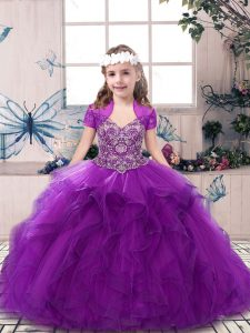 Purple Tulle Lace Up Straps Sleeveless Floor Length Pageant Dress for Girls Beading and Ruffles
