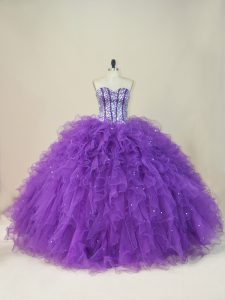 Sexy Sweetheart Sleeveless Quinceanera Dress Floor Length Beading and Ruffles Purple Tulle