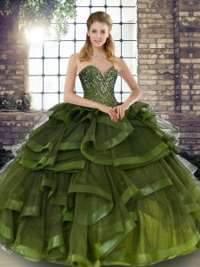 Beautiful Olive Green Sleeveless Floor Length Beading and Ruffles Lace Up Quince Ball Gowns