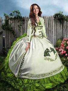 Fitting Sleeveless Organza Floor Length Lace Up Vestidos de Quinceanera in Olive Green with Embroidery and Ruffles