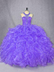 Chic Purple Ball Gowns Scoop Sleeveless Organza Floor Length Zipper Beading 15th Birthday Dress