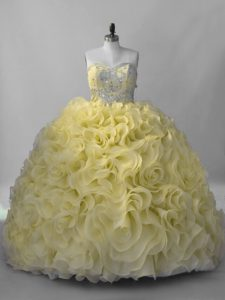Yellow Sleeveless Fabric With Rolling Flowers Lace Up Quinceanera Gown for Sweet 16 and Quinceanera