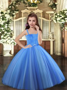 Custom Fit Blue and Yellow And White Lace Up Pageant Gowns Beading Sleeveless Floor Length