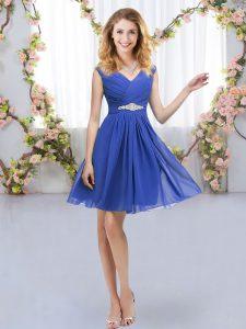 Blue Empire V-neck Sleeveless Chiffon Mini Length Zipper Belt Quinceanera Court Dresses