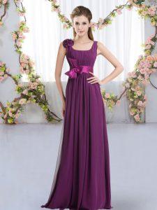 Free and Easy Dark Purple Sleeveless Floor Length Belt and Hand Made Flower Zipper Quinceanera Court of Honor Dress