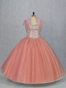 Popular Tulle Sweetheart Sleeveless Lace Up Beading Quinceanera Dress in Watermelon Red