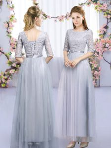 High Class Scoop Half Sleeves Lace Up Dama Dress Grey Tulle