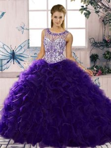 Stylish Purple Sleeveless Floor Length Beading and Ruffles Lace Up Vestidos de Quinceanera