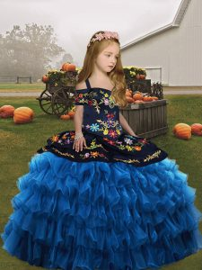 Blue Sleeveless Organza Lace Up Little Girls Pageant Dress Wholesale for Wedding Party