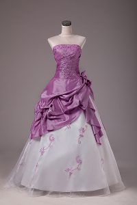 Low Price Organza and Taffeta Strapless Sleeveless Lace Up Embroidery and Pick Ups Quince Ball Gowns in White And Purple