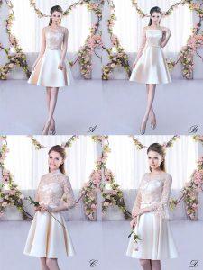 Captivating Lace and Belt Damas Dress Champagne Lace Up Sleeveless Mini Length