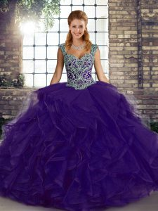 Modest Tulle Sleeveless Floor Length Quinceanera Dress and Beading and Ruffles