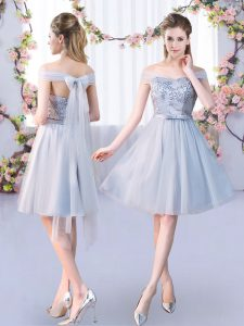 Grey Off The Shoulder Neckline Lace and Belt Quinceanera Court of Honor Dress Sleeveless Lace Up