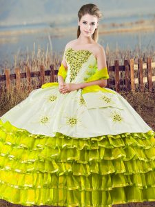 Cute Sleeveless Floor Length Beading and Ruffled Layers Lace Up Sweet 16 Dress with Olive Green