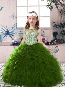 Amazing Sleeveless Beading and Ruffles Lace Up Little Girls Pageant Gowns