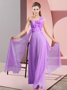 New Arrival Lavender Lace Up One Shoulder Hand Made Flower Vestidos de Damas Chiffon Sleeveless