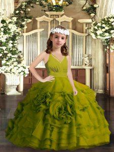 Olive Green Zipper Little Girl Pageant Dress Ruffled Layers Sleeveless Floor Length