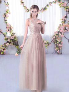 Inexpensive Tulle Sleeveless Floor Length Damas Dress and Lace and Belt
