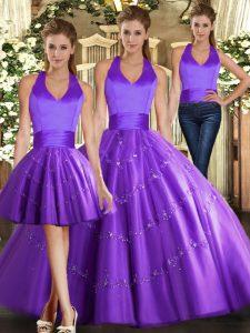 Beading 15 Quinceanera Dress Purple Lace Up Sleeveless Floor Length