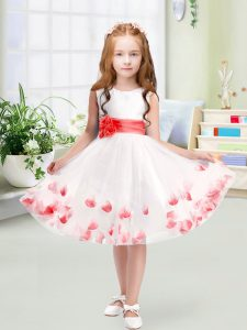 Simple Tulle Scoop Sleeveless Zipper Appliques and Belt Little Girls Pageant Dress in White