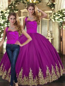 Floor Length Two Pieces Sleeveless Fuchsia Quinceanera Dress Lace Up