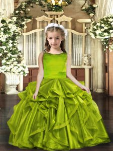 Olive Green Organza Lace Up Scoop Sleeveless Floor Length Pageant Gowns For Girls Ruffles