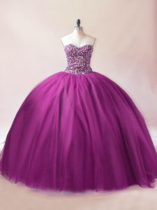 Purple Sleeveless Tulle Lace Up Quince Ball Gowns for Sweet 16 and Quinceanera
