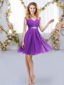 Delicate Eggplant Purple Zipper V-neck Belt Quinceanera Court Dresses Chiffon Sleeveless