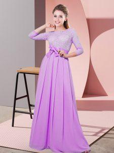 Lilac Empire Chiffon Scoop 3 4 Length Sleeve Lace and Belt Floor Length Side Zipper Damas Dress