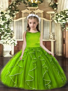 Fashionable Olive Green Lace Up Little Girls Pageant Dress Ruffles Sleeveless Floor Length