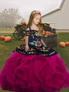Fuchsia Sleeveless Floor Length Embroidery and Ruffles Lace Up High School Pageant Dress
