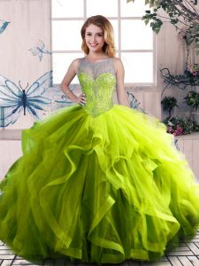 Floor Length Ball Gowns Sleeveless Olive Green Sweet 16 Dress Lace Up
