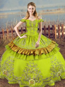 Admirable Floor Length Lace Up Quinceanera Gowns Olive Green for Sweet 16 and Quinceanera with Embroidery