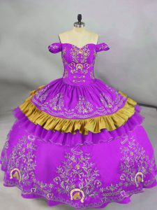 Popular Floor Length Lace Up Quince Ball Gowns Purple for Sweet 16 and Quinceanera with Embroidery