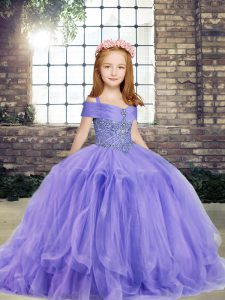 Classical Sleeveless Floor Length Beading Lace Up Pageant Gowns For Girls with Lavender