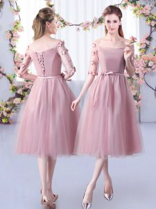 Noble Off The Shoulder Half Sleeves Tulle Damas Dress Appliques and Belt Lace Up