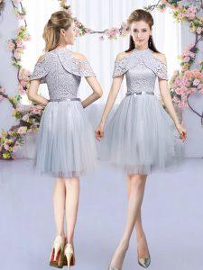 New Arrival Sleeveless Zipper Mini Length Lace and Belt Dama Dress